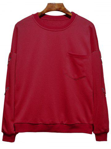 Fancy Raglan Sleeve Metallic Loop Embellished Plus Size Sweatshirt - 3XL RED Mobile