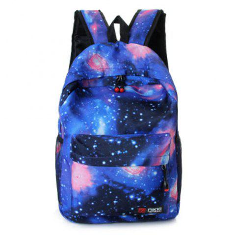 Online Galaxy Print Backpack with Padded Strap BLUE
