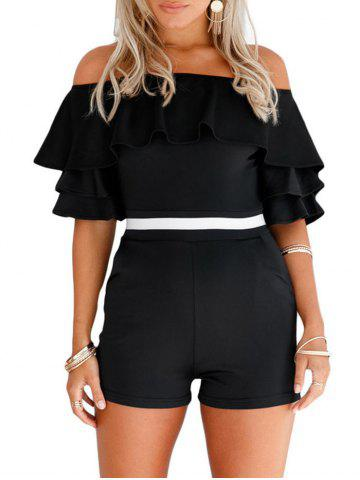Fashion Off The Shoulder Ruffle Romper - S BLACK Mobile
