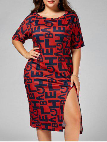 Slit Letter Graphic Tight Fitted Plus Size Dress - Red - 6xl