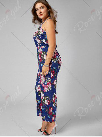 Online Chiffon Floral Plus Size Jumpsuit - XL BLUE Mobile