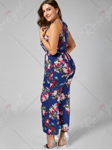 Latest Chiffon Floral Plus Size Jumpsuit - XL BLUE Mobile