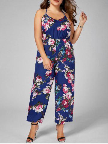Best Chiffon Floral Plus Size Jumpsuit - XL BLUE Mobile