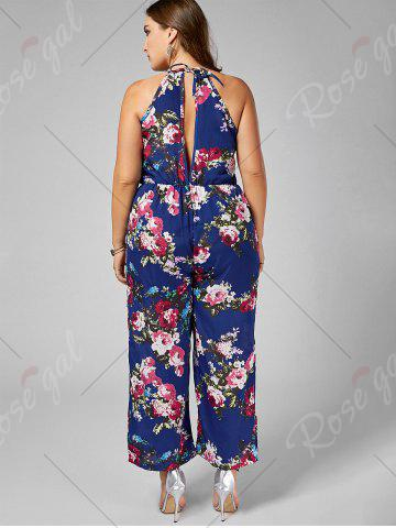 Fashion Chiffon Floral Plus Size Jumpsuit - 5XL BLUE Mobile