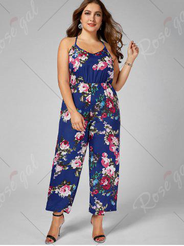 Chic Chiffon Floral Plus Size Jumpsuit - 5XL BLUE Mobile