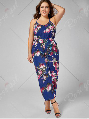 Trendy Chiffon Floral Plus Size Jumpsuit - 5XL BLUE Mobile