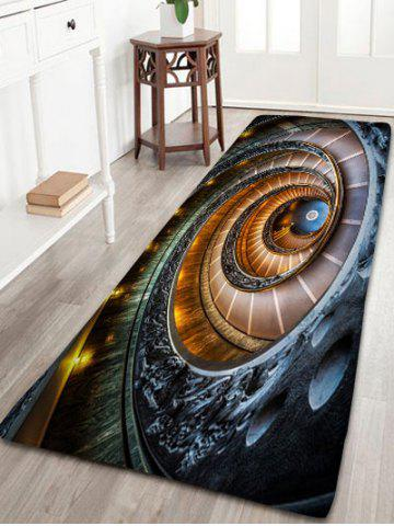 Fashion Spiral Printed Bathroom Antislip Flannel Rug COLORMIX W24 INCH * L71 INCH