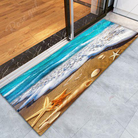 New Beach Starfish Printed Antislip Flannel Rug - W16 INCH * L47 INCH BLUE AND YELLOW Mobile