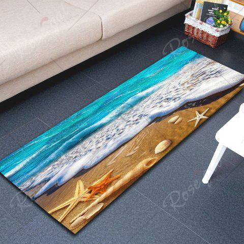 Affordable Beach Starfish Printed Antislip Flannel Rug - W16 INCH * L47 INCH BLUE AND YELLOW Mobile