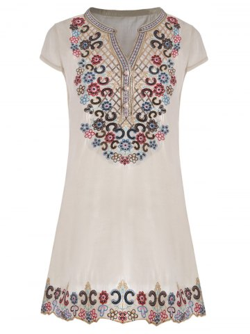 V Neck Sequin Embroidered Plus Size Tunic Top - Beige - 4xl