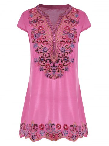 V Neck Sequin Embroidered Plus Size Tunic Top - Rose Madder - 2xl
