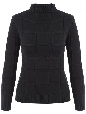High Neck Long Sleeves Knit Sweater - Black - One Size