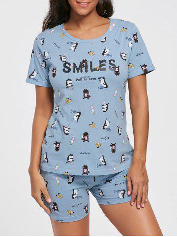 Fashion Cotton Print T-shirt Pajamas Suit - L LIGHT BLUE Mobile