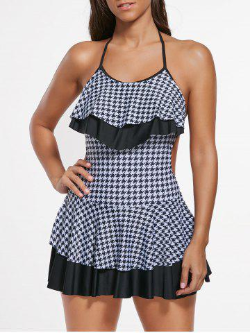 Discount Houndstooth Halter Flounce Skirted Swimsuit - M WHITE AND BLACK Mobile