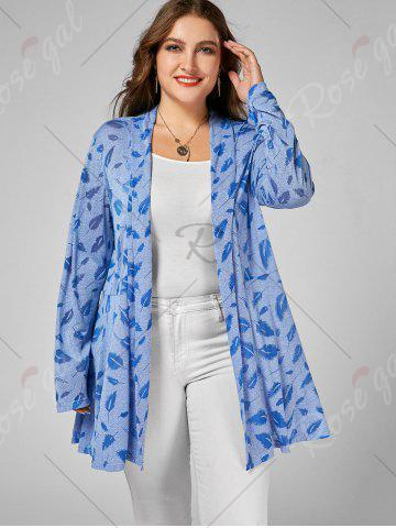 Affordable Open Front Feather Print Plus Size Longline Coat - XL CLOUDY Mobile