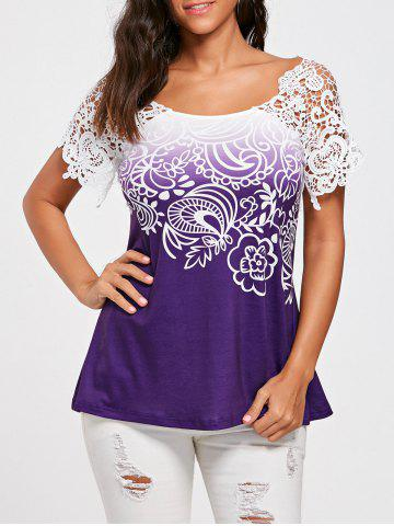 Floral Lace Trim Cutwork T-shirt - White + Purple - L