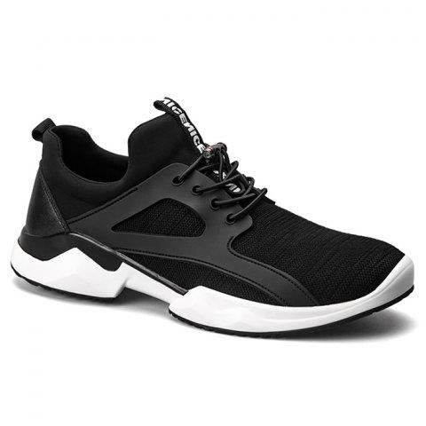 Shop Breathable String Stretch Fabric Athletic Shoes - 40 BLACK Mobile