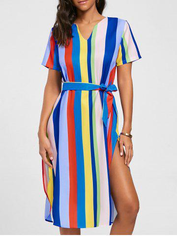 Store Striped Rainbow Color Slit Midi Dress - S MULTI Mobile