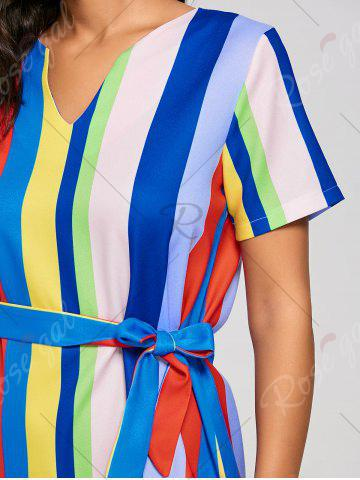 Outfits Striped Rainbow Color Slit Midi Dress - S MULTI Mobile