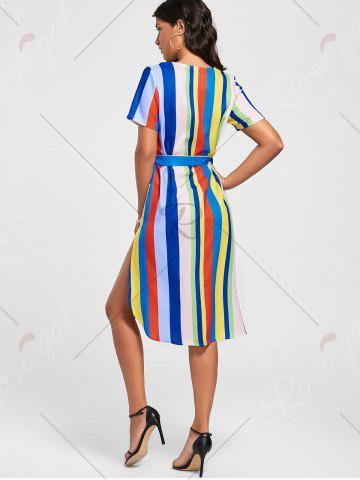 Latest Striped Rainbow Color Slit Midi Dress - S MULTI Mobile