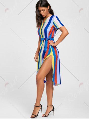 Chic Striped Rainbow Color Slit Midi Dress - S MULTI Mobile
