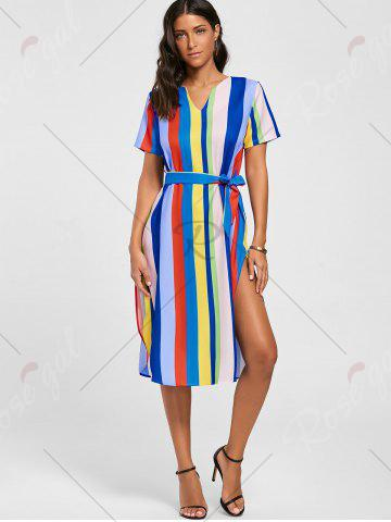 Shops Striped Rainbow Color Slit Midi Dress - S MULTI Mobile