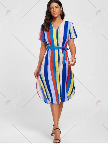Outfit Striped Rainbow Color Slit Midi Dress - S MULTI Mobile