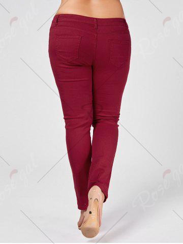 Cheap Skinny Plus Size Ripped Jeans - XL WINE RED Mobile