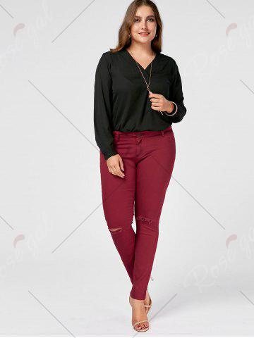 Sale Skinny Plus Size Ripped Jeans - XL WINE RED Mobile