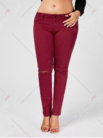 Best Skinny Plus Size Ripped Jeans - XL WINE RED Mobile