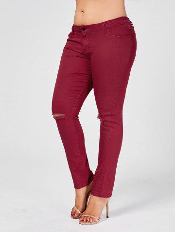 Best Skinny Plus Size Ripped Jeans WINE RED 2XL