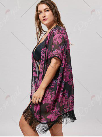 Chic Plus Size Cover Up Kimono with Fringe - ONE SIZE BLACK + ROSE Mobile