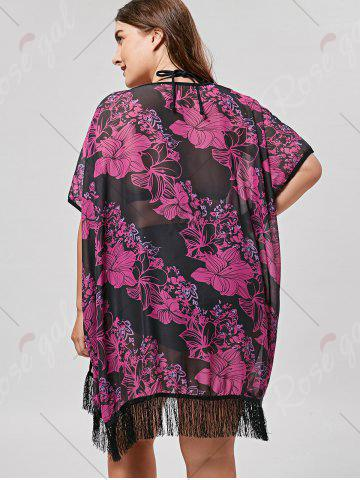 Discount Plus Size Cover Up Kimono with Fringe - ONE SIZE BLACK + ROSE Mobile
