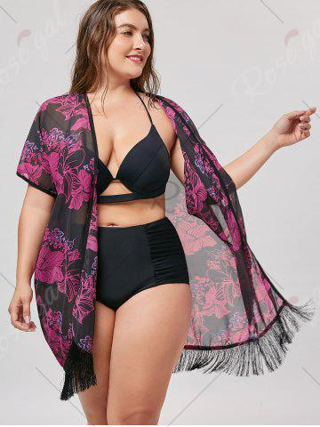 Sale Plus Size Cover Up Kimono with Fringe - ONE SIZE BLACK + ROSE Mobile