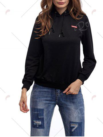 Hot Cartoon Patch Drawstring Graphic Hoodie - S BRIGHT BLACK Mobile