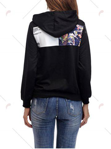 Discount Cartoon Patch Drawstring Graphic Hoodie - S BRIGHT BLACK Mobile