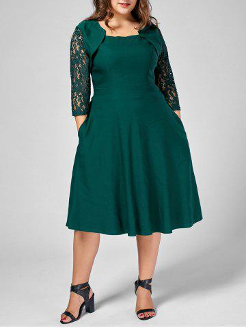 Plus Size Lace Trim A Line Midi Dress - Green - 4xl
