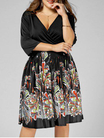 Printed V Neck Plus Size Homecoming Dress - Black - 4xl