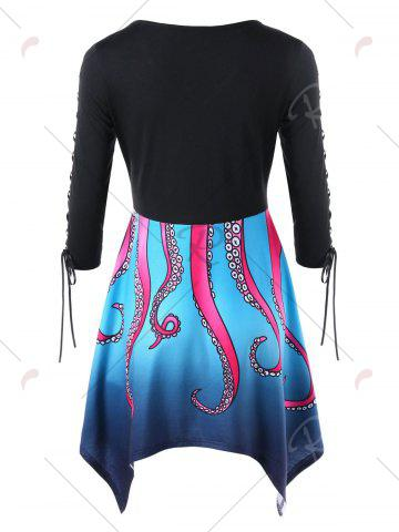 Chic Octopus Pattern Lace Up Handkerchief Dress - M BLUE Mobile