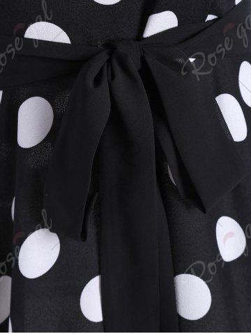 Affordable Midi Vintage Polka Dot A Line Dress - M BLACK Mobile