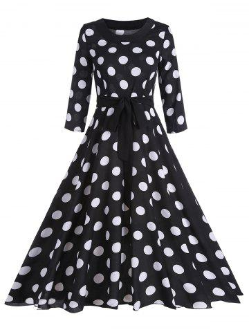 Hot Midi Vintage Polka Dot A Line Dress - M BLACK Mobile