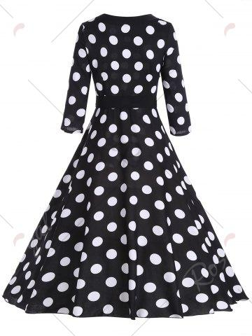 Best Midi Vintage Polka Dot A Line Dress - M BLACK Mobile