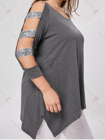 Outfits Plus Size Sequin Ladder Cut Top - XL GRAY Mobile