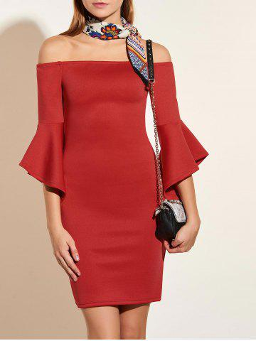 Outfit Off The Shoulder Flared Sleeve Pencil Dress - S RED Mobile
