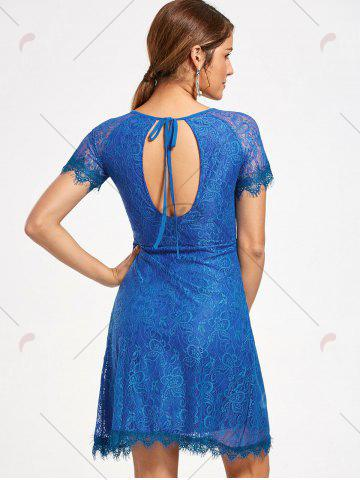Hot Short Raglan Sleeve Open Back Lace Dress - S ROYAL Mobile