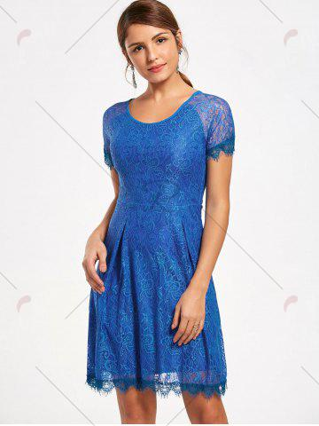 New Short Raglan Sleeve Open Back Lace Dress - S ROYAL Mobile