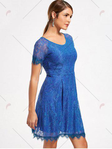 Shop Short Raglan Sleeve Open Back Lace Dress - S ROYAL Mobile
