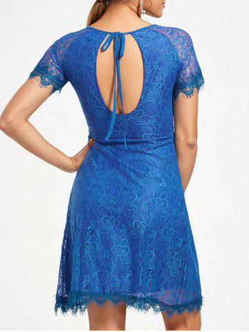 Short Raglan Sleeve Open Back Lace Dress - Royal - M