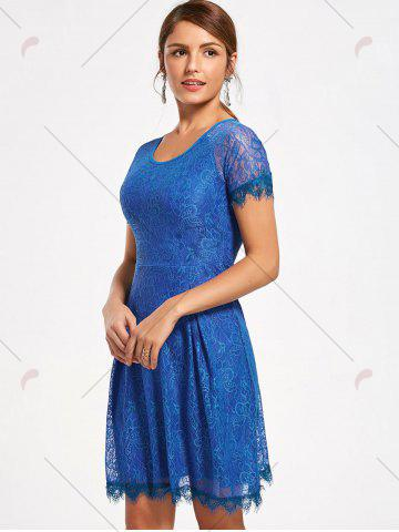 Store Short Raglan Sleeve Open Back Lace Dress - XL ROYAL Mobile
