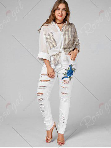 Cheap Plus Size Ripped Embroidered Skinny Jeans - 2XL WHITE Mobile